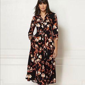 Eva Mendes Floral Shirt Dress